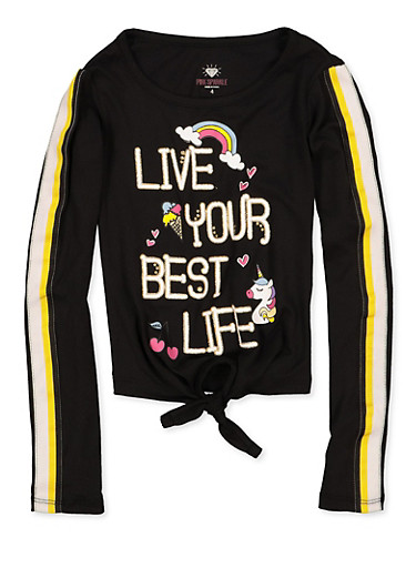 Girls 4-6x Live Your Best Life Graphic Tie Front Top,BLACK,large