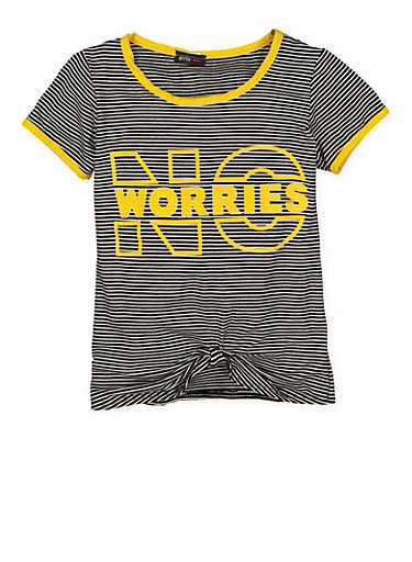 Girls 7-16 Striped Graphic Knot Front Tee,MUSTARD,large