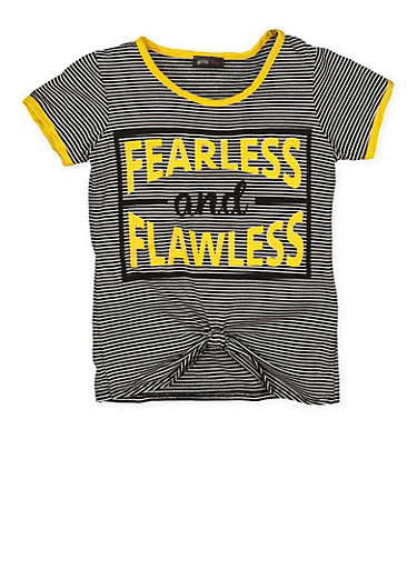 Girls 7-16 Striped Graphic Tie Front Tee,MUSTARD,large