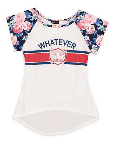 Girls 7-16 Floral Sleeve Graphic High Low Top,NAVY,large