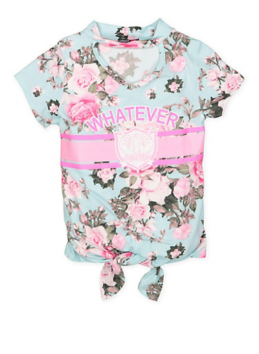 Girls 7-16 Floral Graphic Tie Front Top,TEAL,large