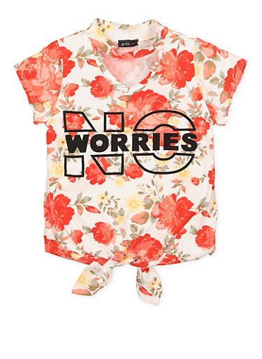 Girls 7-16 No Worries Graphic Tie Front Top,CORAL,large