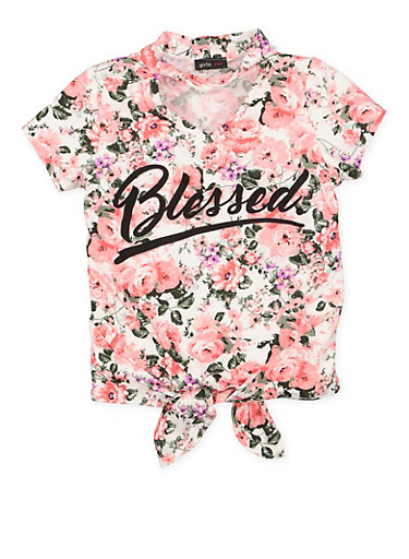 Girls 7-16 Blessed Graphic Tie Front Top,PINK,large