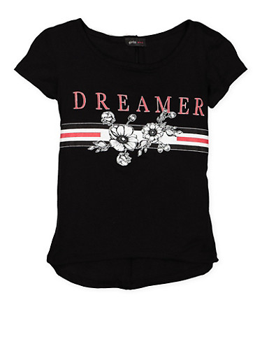 Girls 7-16 Dreamer Graphic T Shirt,BLACK,large