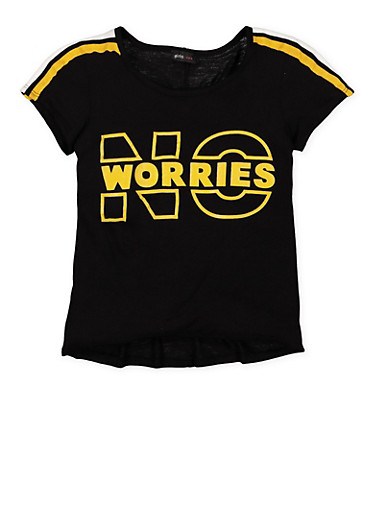 Girls 7-16 No Worries Graphic Tee,BLACK,large