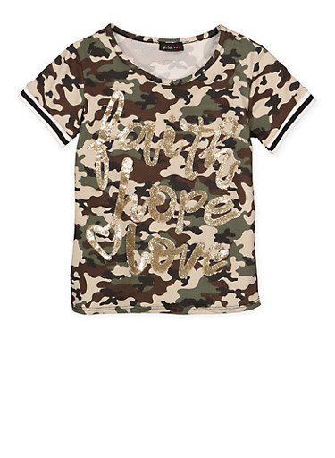 Girls 7-16 Glitter Graphic Camo Tee,OLIVE,large