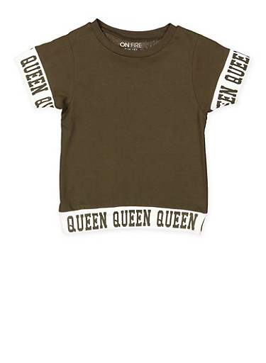Girls 7-16 Queen Graphic Trim Tee | Tuggl