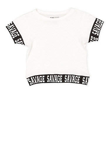 Girls 7-16 Savage Graphic Trim Tee,WHITE,large