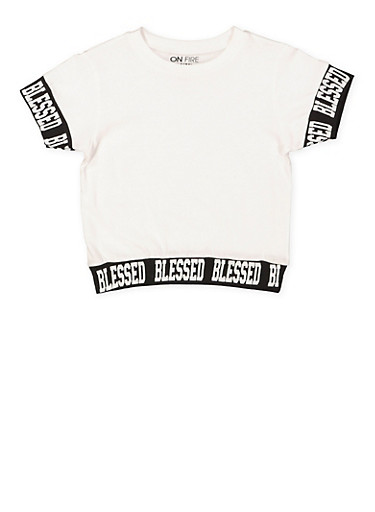 Girls 7-16 Blessed Graphic Trim Tee,WHITE,large