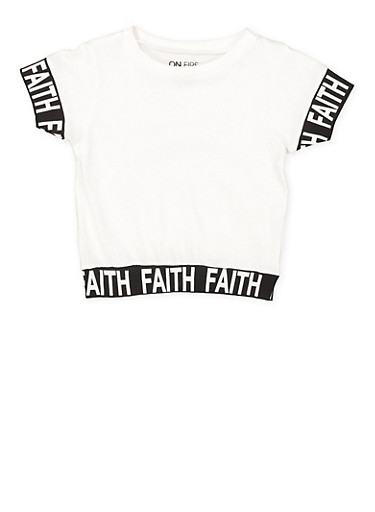 Girls 7-16 Faith Graphic Tee,WHITE,large