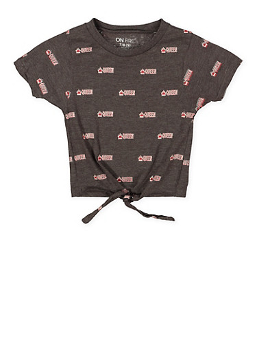 Girls 7-16 Queen Graphic Tie Front Tee,CHARCOAL,large