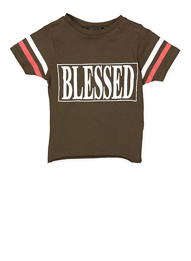 Girls 7-16 Blessed Graphic Tee,OLIVE,large