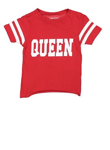 Girls 7-16 Queen Graphic Tee,RED,large