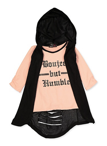 Girls 7-16 Boujee But Humble Tee and Hooded Duster,BLACK,large
