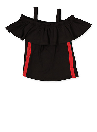 Girls 7-16 Cold Shoulder Ruffle Top,BLACK,large