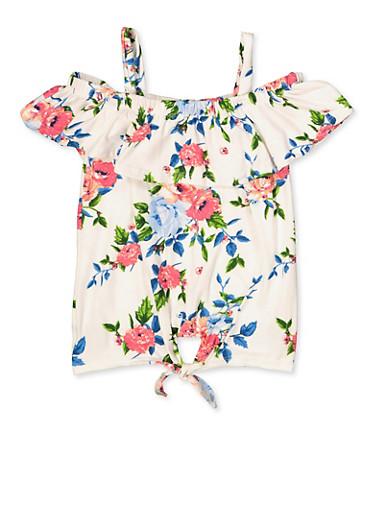Girls 7-16 Floral Cold Shoulder Tie Front Top,IVORY,large