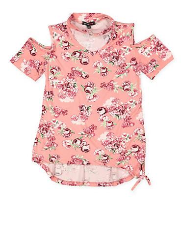 Girls 7-16 Floral Cold Shoulder Top,MAUVE,large
