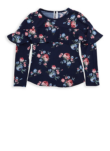 Girls 7-16 Navy Floral Ruffled Top,NAVY,large