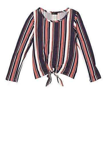 Girls 7-16 Striped Tie Front Top,MAUVE,large