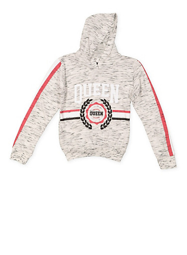 Girls 7-16 Queen Graphic Hooded Top,HEATHER,large