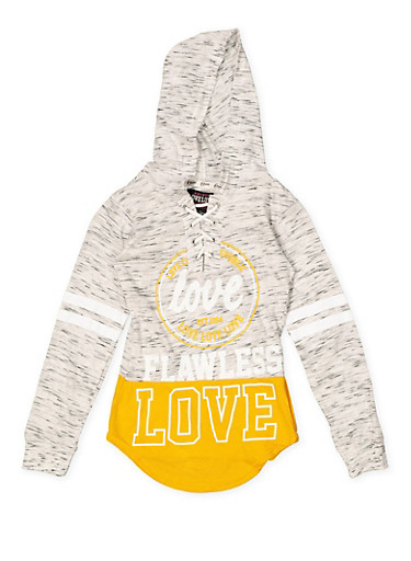 Girls 7-16 Graphic Lace Up Hooded Tee,HEATHER,large