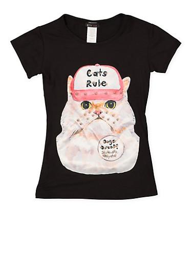 Girls 7-16 Cat Patch Tee,BLACK,large