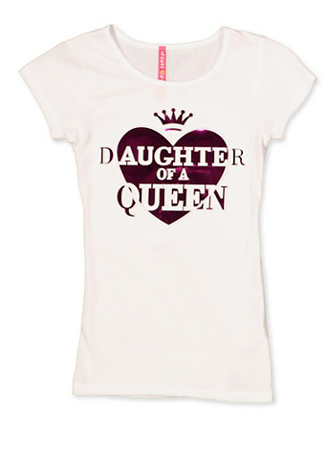 Girls 7-16 3D Foil Daughter of a Queen Tee,WHITE,large