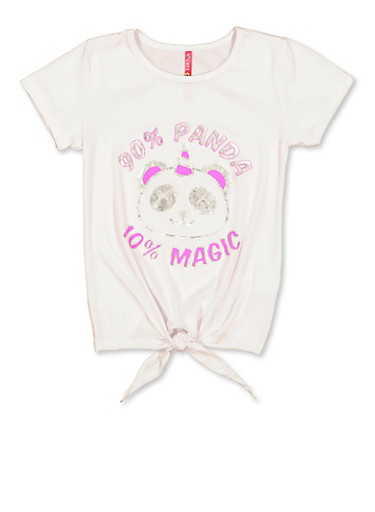 Girls 7-16 Panda Magic Graphic Tee,WHITE,large