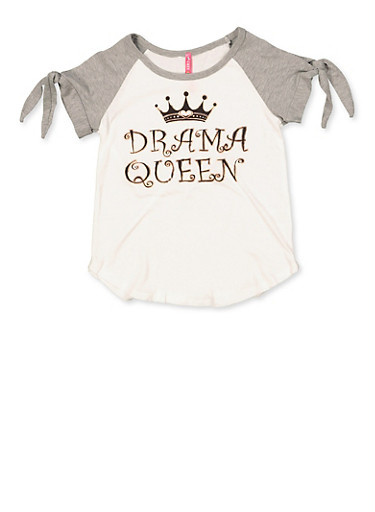 Girls 7-16 Drama Queen Split Tie Sleeve Tee,GRAY,large