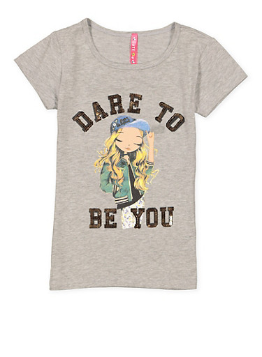 Girls 7-16 Sequin Graphic Tee,HEATHER,large