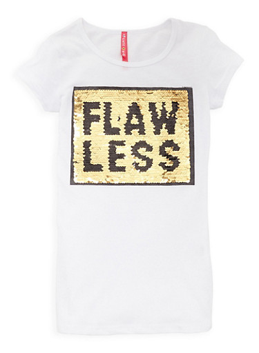 Girls 7-16 Flawless Reversible Sequin T Shirt,WHITE,large