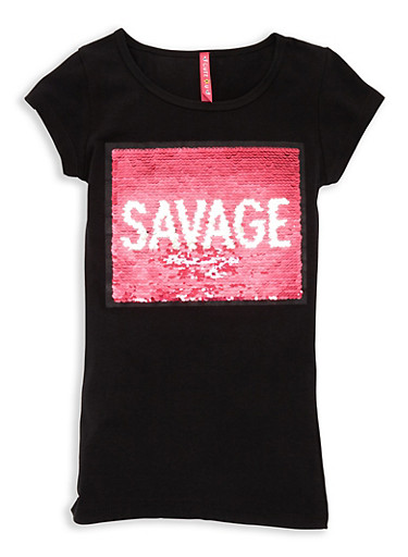 Girls 7-16 Reversible Sequin Graphic Tee,BLACK,large