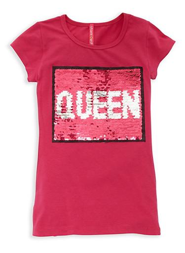 Girls 7-16 Queen Reversible Sequin T Shirt,FUCHSIA,large