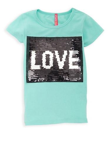 Girls 7-16 Reversible Sequins Graphic T Shirt,MINT,large