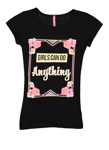 Girls 7-16 Shimmer Graphic Tee,BLACK,large