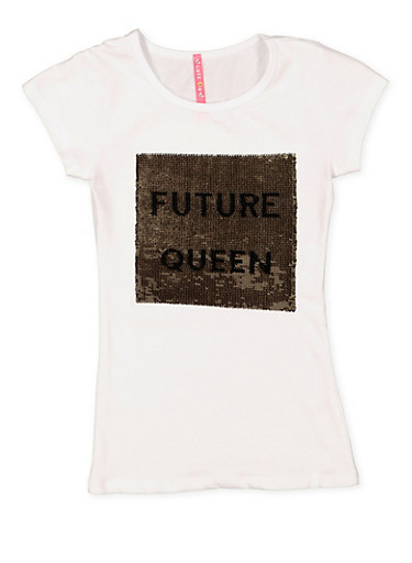 Girls 7-16 Reversible Sequin Graphic Tee,WHITE,large