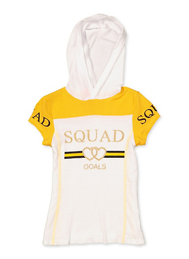 Girls 7-16 Squad Goals Hooded Tee,MUSTARD,large