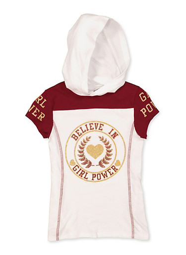Girls 7-16 Believe in Girl Power Hooded Tee,WINE,large