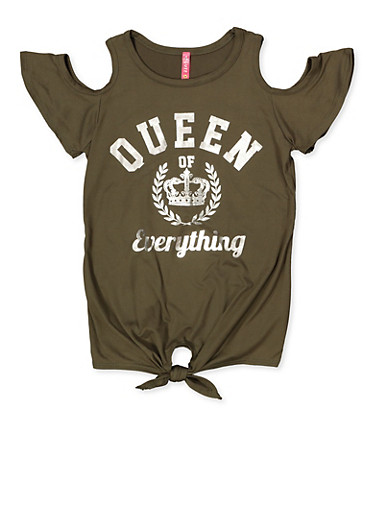 Girls 7-16 Queen of Everything Cold Shoulder Top,OLIVE,large