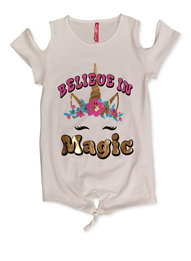 Girls 7-16 Believe in Magic Unicorn Top,WHITE,large