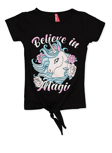 Girls 7-16 Believe in Magic Tie Front Tee,BLACK,large