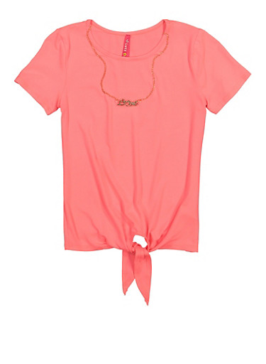 Girls Tie Front Top with Necklace,NEON PINK,large