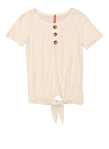 Girls 3 Button Tie Front Top,IVORY,large