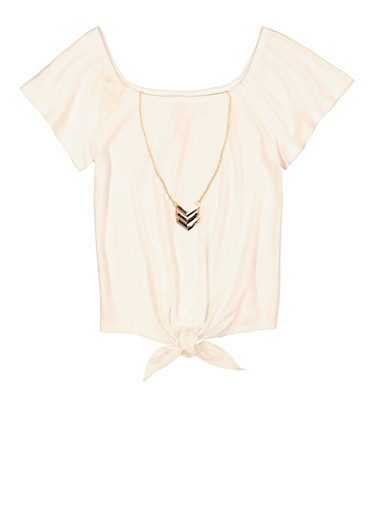 Girls Solid Tie Front Top with Necklace,IVORY,large