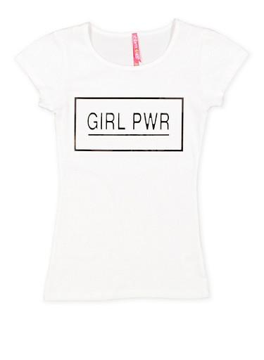 Girls 7-16 Girl Power 3D Foil Screen Tee,WHITE,large