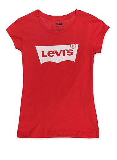 Girls 7-16 Levis Glitter Tee,RED,large