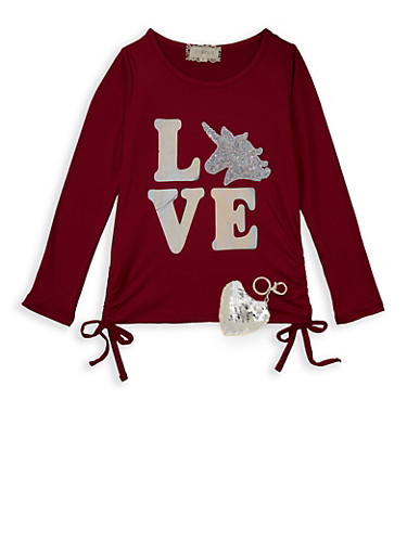 Girls 7-16 Love Sequin Unicorn Tee with Keychain,WINE,large