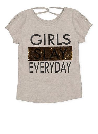 Girls 7-16 Reversible Sequin Graphic Tee,HEATHER,large