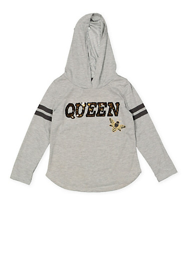 Girls 4-16 Reversible Sequin Graphic Hooded Tee,HEATHER,large
