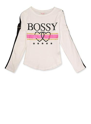 Girls 7-16 Glitter Bossy Graphic Tee,WHITE,large